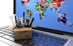 De elektronische handel of het online het winkelen toestel van het conceptenhuis in doos op het laptop 3d toetsenbord geeft beeld Stock Afbeeldingen
