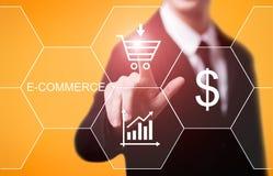 De elektronische handel voegt aan kar het online het winkelen concept van bedrijfstechnologieinternet toe Stock Afbeelding