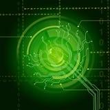 De elektronische Sensorachtergrond toont Verlichte Oogsensor of Cir Stock Afbeelding