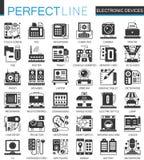 De elektronische symbolen van het apparaten klassieke zwarte miniconcept Vector geplaatste het pictogramillustraties van het gadg Stock Foto's