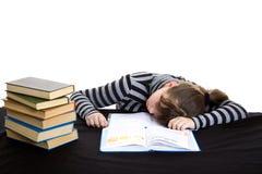 De elementaire student valt een slaap Royalty-vrije Stock Afbeelding