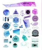 De elementen, de pictogrammen en de etiketten van de Hipsterstijl stock illustratie
