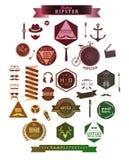 De elementen, de pictogrammen en de etiketten van de Hipsterstijl Stock Foto's