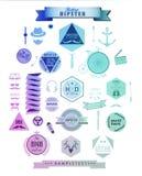 De elementen, de pictogrammen en de etiketten van de Hipsterstijl Stock Fotografie