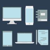 de elementen en de computer van het ontwerpbureau, tablet, laptop en sma Stock Foto's