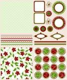 De elementen en de patronen van het plakboek voor ontwerp,   royalty-vrije illustratie