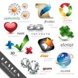 De Elementen en de Pictogrammen van het ontwerp Stock Afbeeldingen