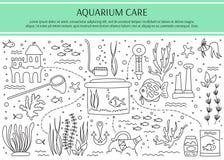 De elementen van de aquariumzorg Stock Foto's