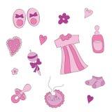 De elementen van de baby voor babymeisje Royalty-vrije Stock Afbeeldingen