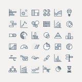 De elementen van de bedrijfsgegevensmarkt stippelen diagrammen van pasteigrafieken en de geplaatste grafieken vlakke pictogrammen stock illustratie
