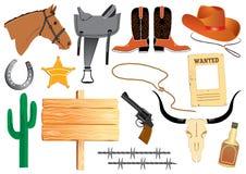 De elementen van de cowboy. Het leven van het westen Stock Foto