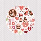 De elementen van de Dag van valentijnskaarten Stock Foto