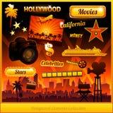 De elementen van de de bioskoopfilm van Hollywood royalty-vrije illustratie