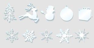 De elementen van de Kerstmisdecoratie Stock Afbeeldingen