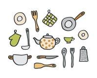 De elementen van de keuken Stock Foto's
