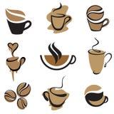 De elementen van de koffie plaatsen 2 Stock Afbeeldingen