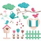 De elementen van de lente met trendy kleuren royalty-vrije illustratie