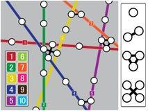 De elementen van de metrokaart. Stock Afbeelding