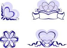 De elementen van de valentijnskaart. Stock Fotografie