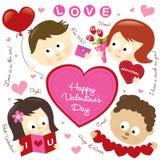 De elementen van de valentijnskaart met jonge geitjes Stock Foto