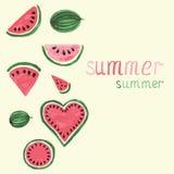De elementen van de waterverfwatermeloen Stock Illustratie