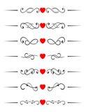 De elementen van de werveling met harten vector illustratie