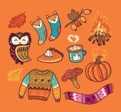De elementen van de de herfstinzameling Hand-drawn stickers, spelden in beeldverhaal grappige stijl Royalty-vrije Stock Afbeelding