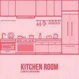 De elementen van het achtergrond keukenmeubilair dun lijn modern vlak ontwerp Stock Afbeelding