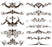 De elementen van het art decoontwerp van uitstekende ornamenten en grenzenhoeken van de kader Geïsoleerde Jugendstil bloeit Eenvo Stock Afbeeldingen