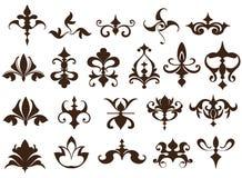De elementen van het art decoontwerp van uitstekende ornamenten en grenzenhoeken van de kader Geïsoleerde Jugendstil bloeit Eenvo stock illustratie