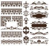De elementen van het art decoontwerp van uitstekende ornamenten en grenzenhoeken van de kader Geïsoleerde Jugendstil bloeit Eenvo royalty-vrije illustratie