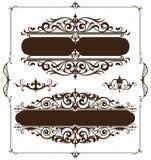 De elementen van het art decoontwerp van uitstekende ornamenten en grenzenhoeken van het kader Royalty-vrije Stock Foto's
