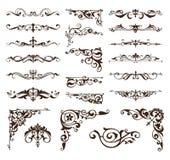 De elementen van het art decoontwerp van uitstekende ornamenten en grenzenhoeken van het kader vector illustratie