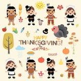 De Elementen van het dankzeggingsontwerp stock illustratie
