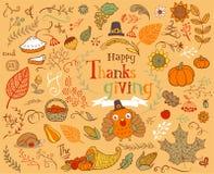 De Elementen van het dankzeggingsontwerp Stock Afbeeldingen