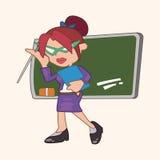 De elementen van het de leraarsthema van het persoonskarakter Stock Afbeelding