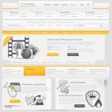 De elementen van het de navigatiemalplaatje van het websiteontwerp met geplaatste pictogrammen Royalty-vrije Stock Afbeelding