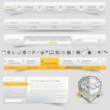 De elementen van het de navigatiemalplaatje van het websiteontwerp met geplaatste pictogrammen Royalty-vrije Stock Afbeeldingen