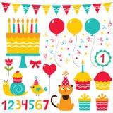 De elementen van het de partijontwerp van de verjaardag Stock Afbeeldingen