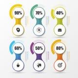 De Elementen van het de Presentatieontwerp van het percentagediagram Infographics Vector Stock Afbeeldingen