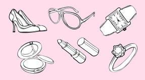 De elementen van het de stijlontwerp van de vrouw Royalty-vrije Stock Afbeelding