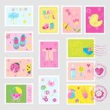 De Elementen van het de Zegelsontwerp van het babymeisje Royalty-vrije Stock Afbeeldingen