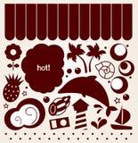 De elementen van het de zomerontwerp in retro (bruine) stijl Stock Afbeelding