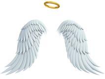De elementen van het engelenontwerp - vleugels en gouden halo Royalty-vrije Stock Afbeeldingen