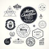 De elementen van het het kaderontwerp van de Kerstmisdecoratie Royalty-vrije Stock Foto's