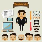 De elementen van het Hipsterkarakter voor de bedrijfsmens stock illustratie