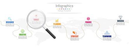 De elementen van het Infographicontwerp voor uw bedrijfsgegevens met 8 opties Royalty-vrije Stock Foto's