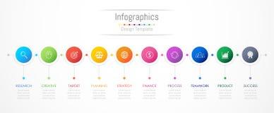 De elementen van het Infographicontwerp voor uw bedrijfsgegevens met 10 opties Royalty-vrije Stock Fotografie