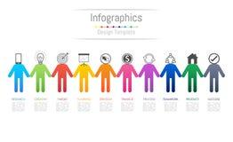 De elementen van het Infographicontwerp voor uw bedrijfsgegevens met 10 opties Stock Afbeeldingen