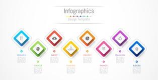 De elementen van het Infographicontwerp voor uw bedrijfsgegevens met 8 opties Royalty-vrije Stock Fotografie